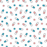 Cute pink white and blue pills seamless pattern background illustration Stock Photo