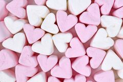 Cute pink and white romantic heart shaped marshmallow sweets