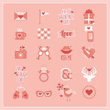 Cute Pink and white Valentine's Day and romantic icons set Stock Photos