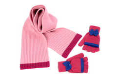Cute pink winter scarf and a pair of gloves nicely arranged. Royalty Free Stock Images