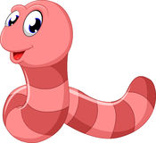 Cute pink worm cartoon Royalty Free Stock Images