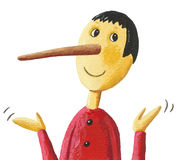 Cute Pinocchio. Acrylic illustration of cute Pinocchio Royalty Free Stock Photo