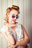 Cute Pinup Fashion Girl With Surprised Expression Royalty Free Stock Image