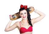 Cute pinup skater girl in punk glam fashion Royalty Free Stock Photo