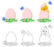 Cute pip egg vector. Cute little chicken breaking the egg, coloring illustration Stock Photography