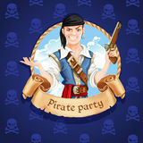 Cute pirate. Banner for Pirate party Stock Images