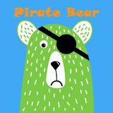 Cute pirate bear design.T-shirt graphics for kids vector illustration. Cute bear pirate, great design for any purposes. Hand drawn royalty free illustration