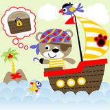 Cute pirate. Bear the pirate looking for treasure with his crew, vector cartoon. EPS 10 Royalty Free Stock Photo