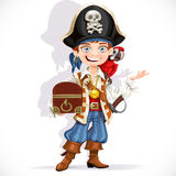 Cute pirate boy with red parrot hold treasure chest Royalty Free Stock Images