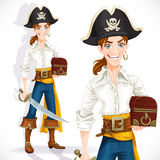 Cute pirate with cutlass and chest Royalty Free Stock Photo