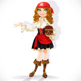 Cute pirate girl with chest Stock Image
