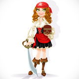 Cute pirate girl with cutlass and chest Royalty Free Stock Images