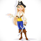 Cute pirate girl with cutlass Stock Photography