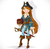 Cute pirate girl with cutlass, pistol and chest Royalty Free Stock Photo