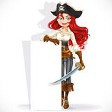 Cute pirate girl hold big vertical banner Royalty Free Stock Photos