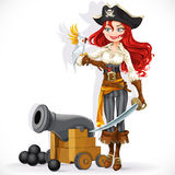 Cute pirate girl with parrot and cannonry Royalty Free Stock Photo