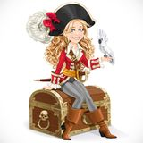 Cute pirate girl with parrot sit on big chest Royalty Free Stock Photography