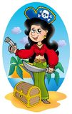 Cute pirate girl with treasure chest Royalty Free Stock Images