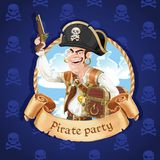 Cute pirate with a gun and big treasure chest. Banner for Pirate Royalty Free Stock Images