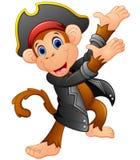 Cute pirate monkey presenting Stock Photo