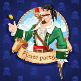 Cute pirate with monkey throw up golden coin Royalty Free Stock Photos
