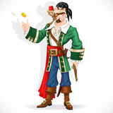 Cute pirate with monkey throw up golden coin Stock Image
