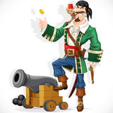 Cute pirate with monkey throw up golden coin Royalty Free Stock Photo