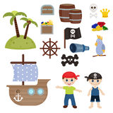 Cute pirate objects Stock Photography