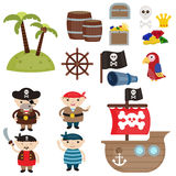 Cute pirate objects Stock Photo
