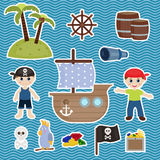 Cute pirate objects Royalty Free Stock Photos
