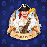 Cute pirate with parrot banner Stock Photo