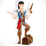 Cute pirate with pistol and chest Royalty Free Stock Photo