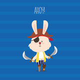 Cute pirate rabbit with eye-patch and swords greeting card. Ahoy Stock Photo