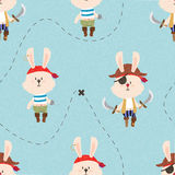 Cute pirate rabbits seamless pattern. Treasure map lines.  Royalty Free Stock Photo