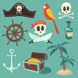 Cute pirate set, objects collection,  illustration, flat Royalty Free Stock Photo