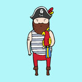 Cute pirate in sketch style Royalty Free Stock Photography