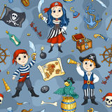 Cute pirates blue seamless pattern Stock Photo