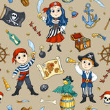 Cute pirates seamless pattern Royalty Free Stock Image