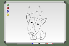 Cute pit bull. Cute pit-bull. Hand drawn  stock illustration. Black and white whiteboard drawing Stock Photo