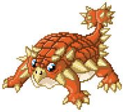 Cute Pixel Art Ankylosaurus Dinosaur Royalty Free Stock Photography