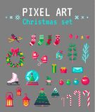 Cute pixel art christmas set for design. Vector illustration Stock Images