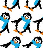 Cute pixel art vector seamless pattern: pixel art colorful penguins; design can be used as a background for wallpaper, wrapping p stock illustration