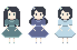 Cute pixel girl set. | Vector illustration Royalty Free Stock Photography