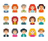 Collection of cute characters. Pixel style. Cute pixel male and female avatars, isolated on white background Royalty Free Stock Photography