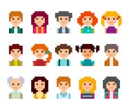 Pixel people avatar set. 8 bit style. Cute pixel male and female avatars, isolated on white background Royalty Free Illustration
