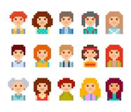 Pixel male and female faces avatars. Cute pixel male and female faces avatars, isolated on white background Stock Image