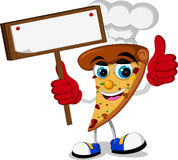 Cute pizza cartoon thumb up holding blank board Royalty Free Stock Photos