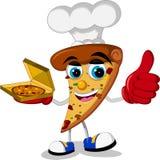 Cute pizza cartoon thumb up Stock Photography