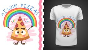 Cute pizza - idea for print t-shirt vector illustration