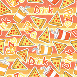 Cute Pizza Seamless pattern with soft drinks on stripes background Royalty Free Stock Photography